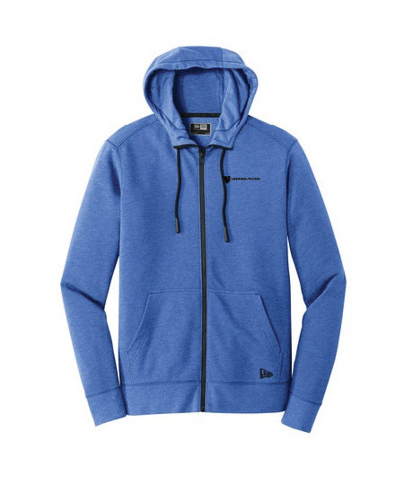 New Era® Tri Blend Fleece Full Zip Hoodie w/ Heat-Sealed Logo