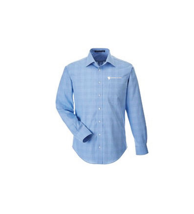 Devon & Jones® Men's Crown Woven Collection™ Glen Plaid Dress Shirt w/ Embroidered Logo ERLKJ-KFZHH