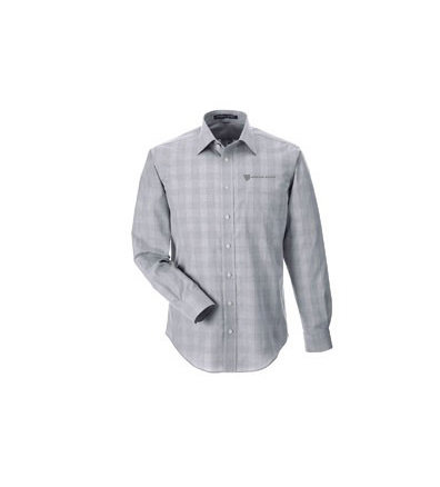 Devon & Jones® Men's Crown Woven Collection™ Glen Plaid Dress Shirt w/ Embroidered Logo