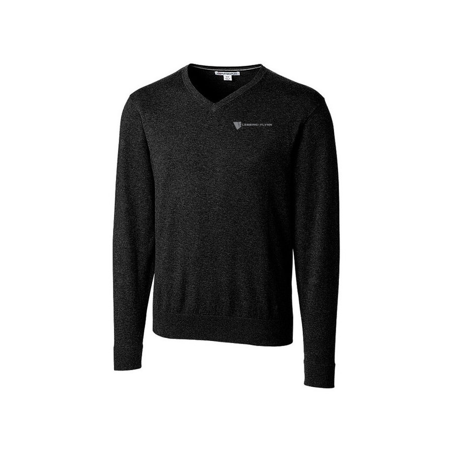 Cutter & Buck Lakemont V-neck Sweater-Men's Black w/ Embroidered Logo UVLDE-LNIGG