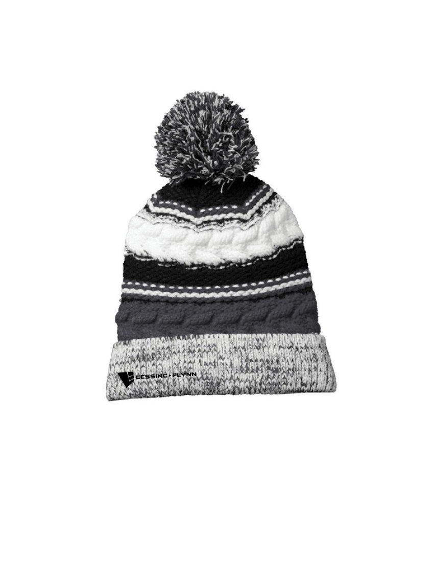 Sport-Tek® Pom Team Beanie - Embroidered: Iron Gray/Black/White AOEGA-JDCHO