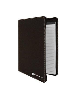 Zipper Portfolio with Notepad, Black Faux Leather, 9 1/2