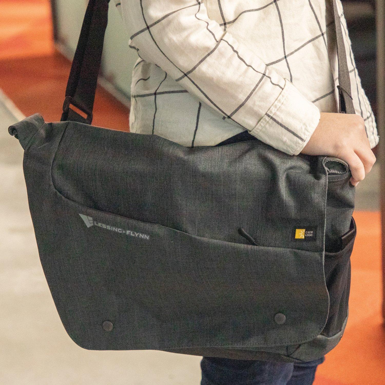 "Case Logic® Reflexion 15.6"" Computer Messenger Bag - Gray w/ Heat-sealed Logo"
