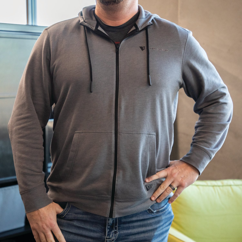 New Era® Tri Blend Fleece Full Zip Hoodie w/ Heat-Sealed Logo