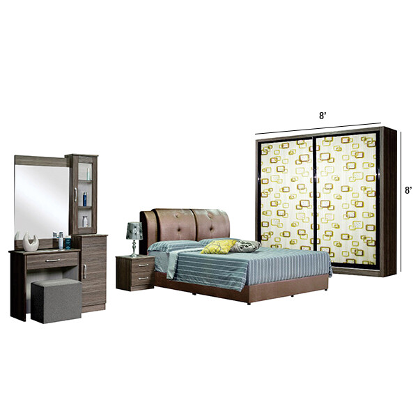 Bedroom Set with wardrobe 8'x8' and king size divan