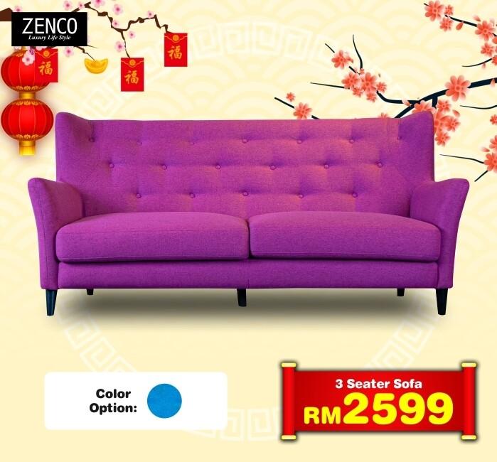 3 Seater Sofa(Blue/Lavender)