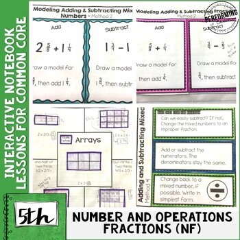 Interactive Math Notebook 5th Grade Fractions Common Core NF