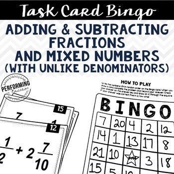Fractions and Mixed Numbers Task Card Bingo - Great for centers!