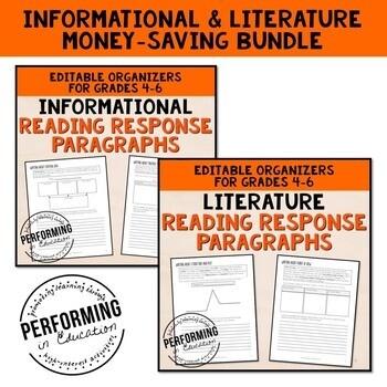 Reading Response Paragraphs: Editable Informational and Literature Bundle