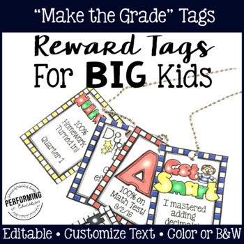 Classroom Management Reward Tags for Big Kids: Editable Academic Tags