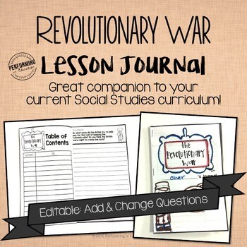 Revolutionary War Journal for 4th and 5th grade EDITABLE Social Studies