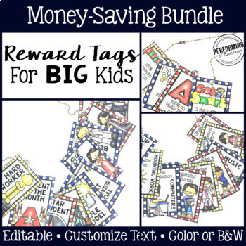 Classroom Management Reward Tags for Big Kids: Editable Bundle!