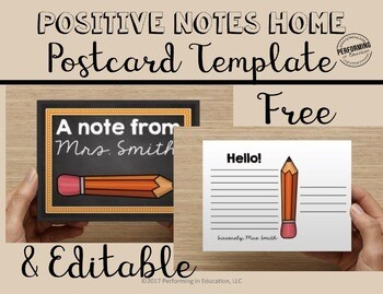Free Positive Notes Home Classroom Management Printable Postcards