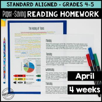 April Reading Homework for 4th & 5th Financial Literacy Theme PAPER-SAVING