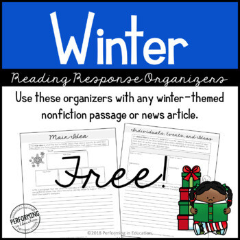 Winter Reading Comprehension Response Organizers   Grades 4 & 5