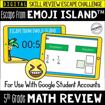 5th Grade Math Test Prep Game   Digital Escape Room   Google Classroom