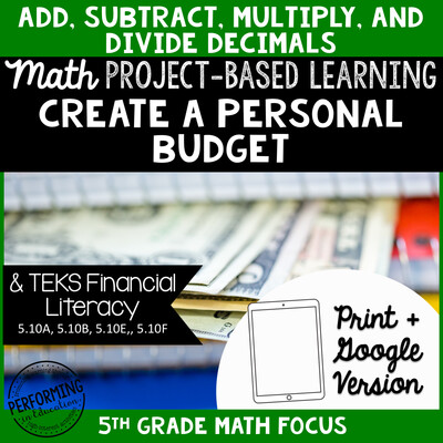 Project Based Learning: Create a Personal Budget 5th Grade Math