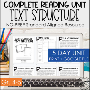 Text Structure Digital & Print Reading Packet   Distance Learning Google 4th 5th