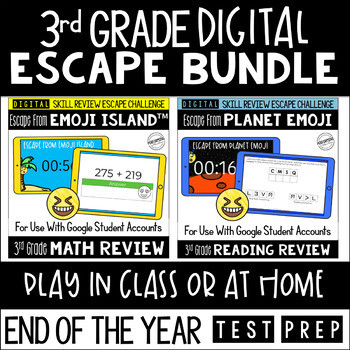 Digital Escape Room Math and Reading Review End of Year   3rd Grade Bundle