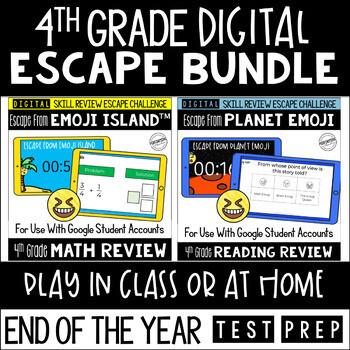Digital Escape Room Math and Reading Review End of Year   4th Grade Bundle