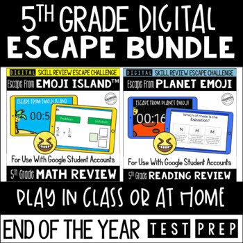 Digital Escape Room Math and Reading Review End of Year   5th Grade Bundle