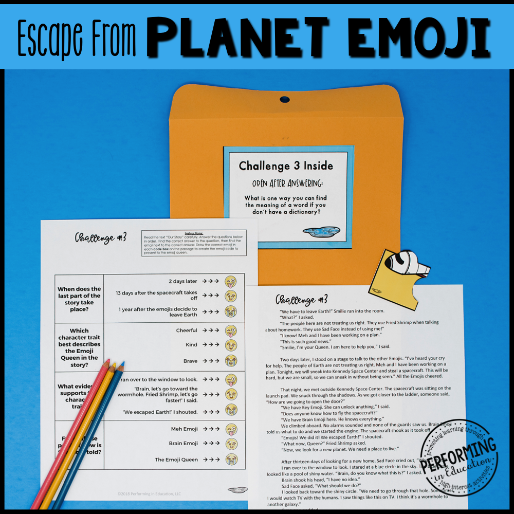 3rd Grade Planet Emoji (Reading Test Prep)