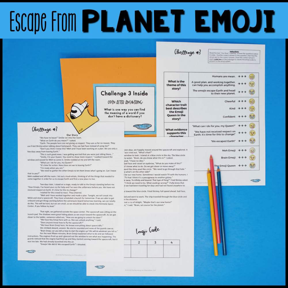 4th Grade Planet Emoji (Reading Test Prep)