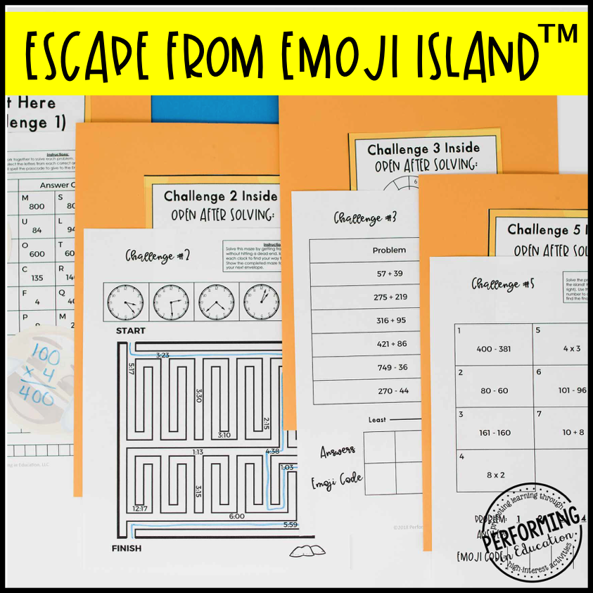3rd Grade Escape from Emoji Island® (Math Test Prep)