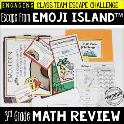 3rd Grade Escape from Emoji Island® | Math Test Prep Escape Room