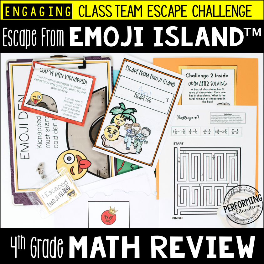 4th Grade Escape from Emoji Island® (Math Test Prep) 00028