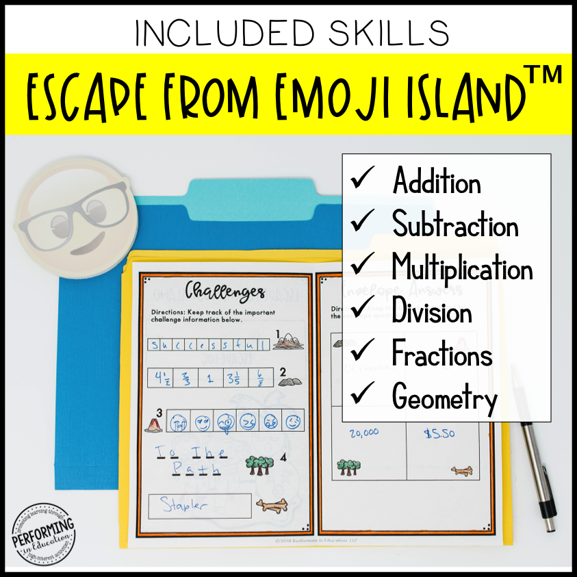 4th Grade Escape from Emoji Island® (Math Test Prep)