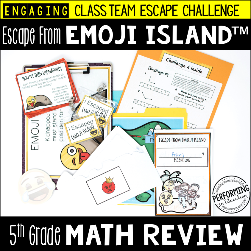 5th Grade Escape from Emoji Island® (Math Test Prep) 00029