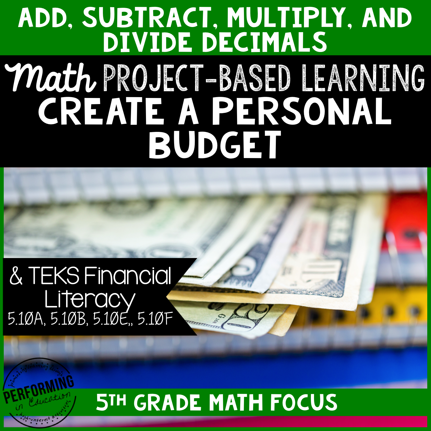 Project Based Learning: Create a Personal Budget 5th Grade Math 00031