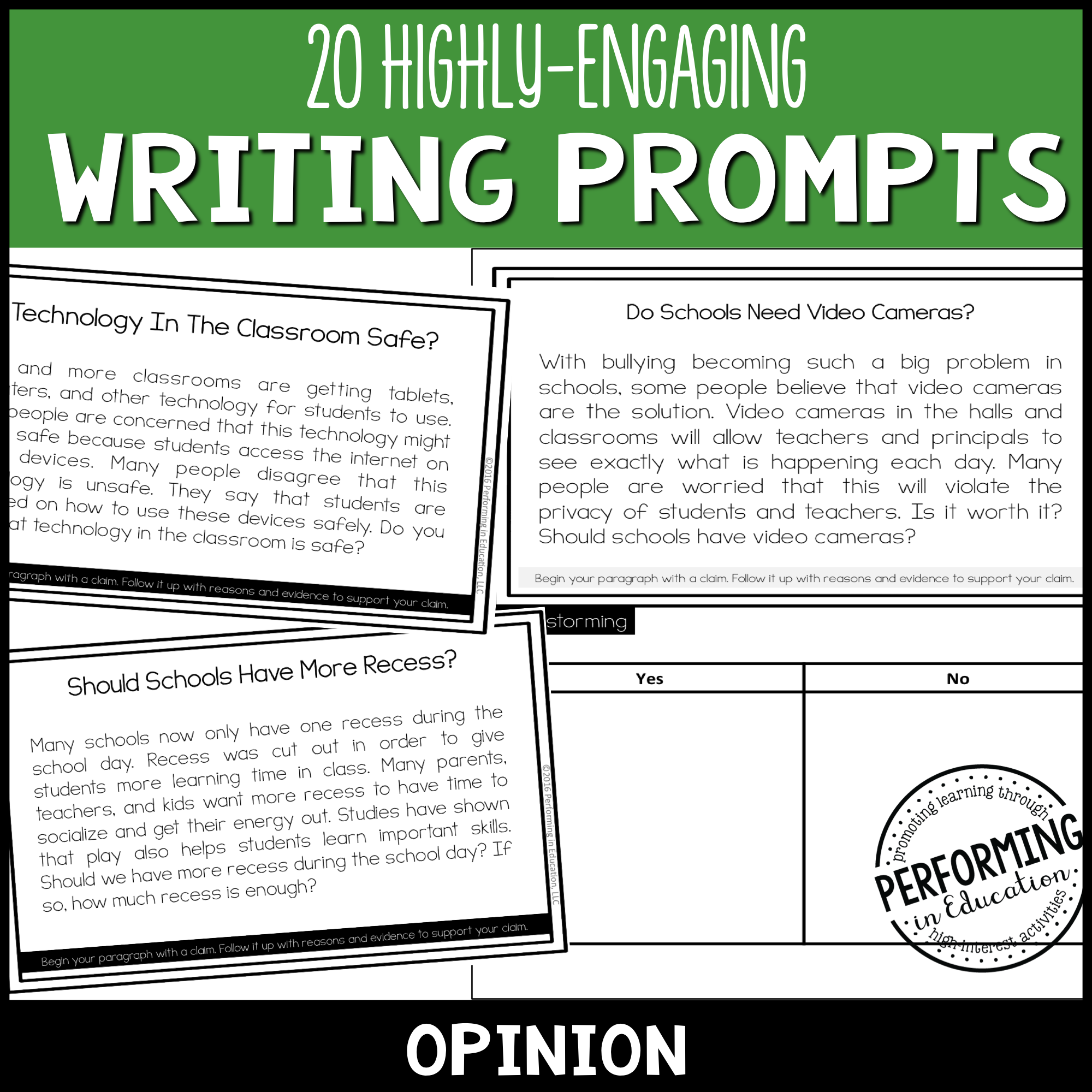 Opinion Writing Prompts (Print & Digital) 00036
