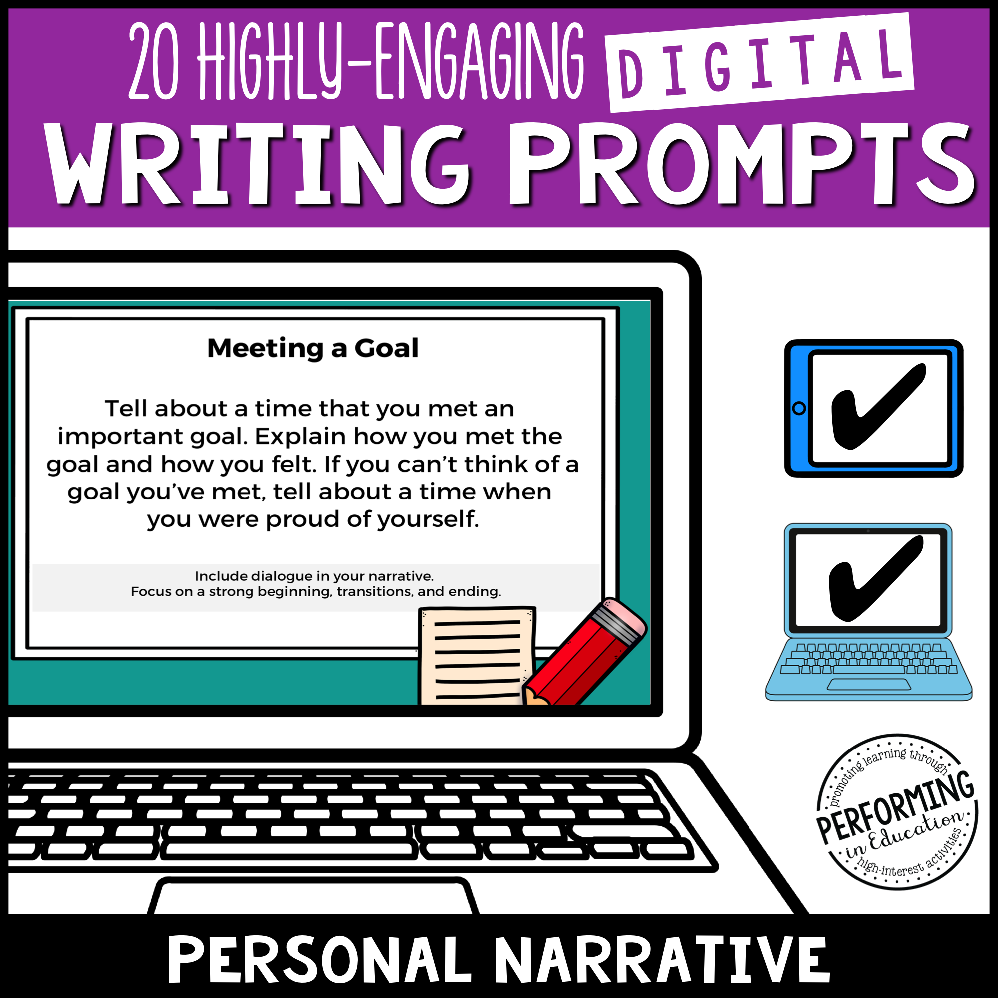 Personal Narrative Writing Prompts (Print & Digital)