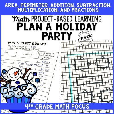 Winter Project Based Learning for 4th Grade: Plan a Holiday Party