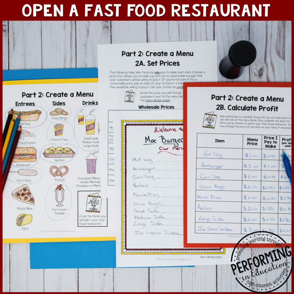 Project Based Learning for 3rd: Open a Fast Food Restaurant