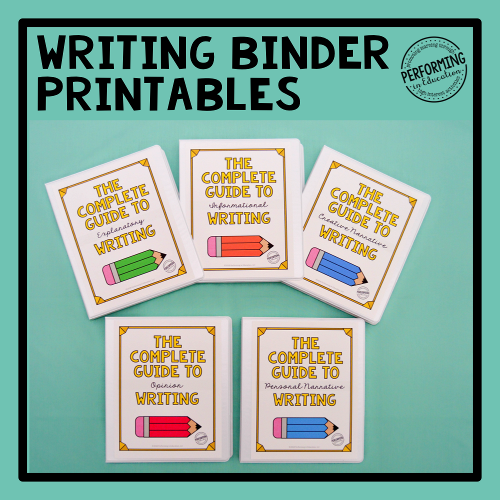 Free Writing Binder Cover & Spine Printables