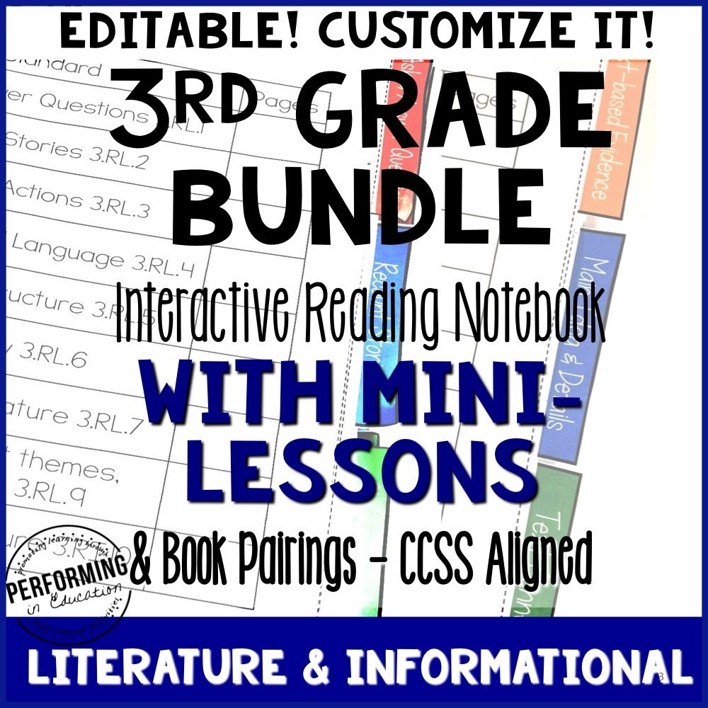 3rd Grade Reading Interactive Notebook Mini Lessons ENTIRE YEAR 00066