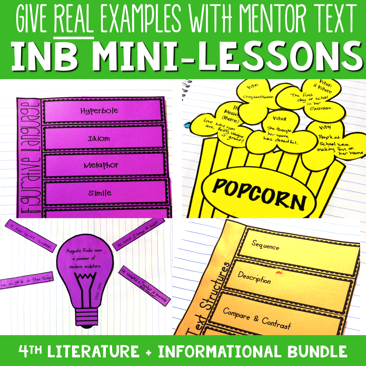 4th Grade Reading Interactive Notebook Mini Lessons ENTIRE YEAR 00067