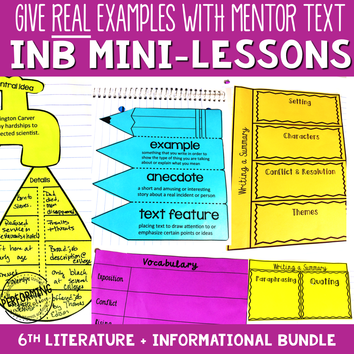 6th Grade Reading Interactive Notebook Mini Lessons ENTIRE YEAR 00069
