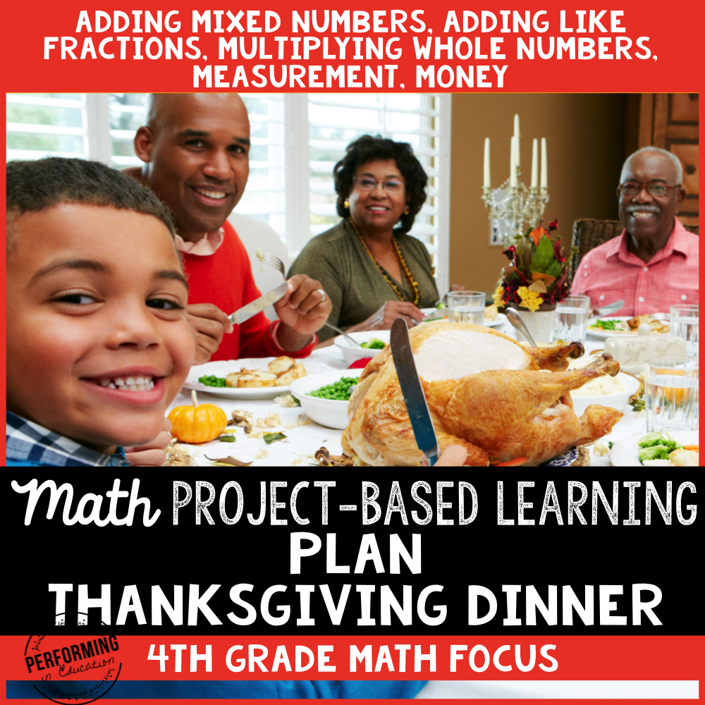 Thanksgiving Project-Based Learning for 4th Grade Fractions & Measurement 00048