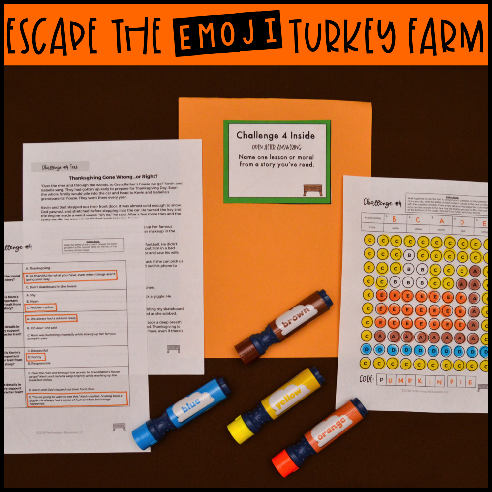 3rd Grade Thanksgiving Reading Escape Game