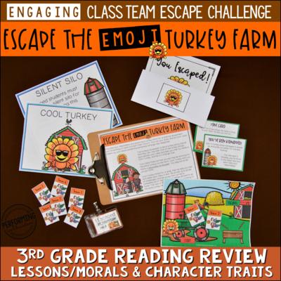 3rd Grade Thanksgiving Reading Escape Game