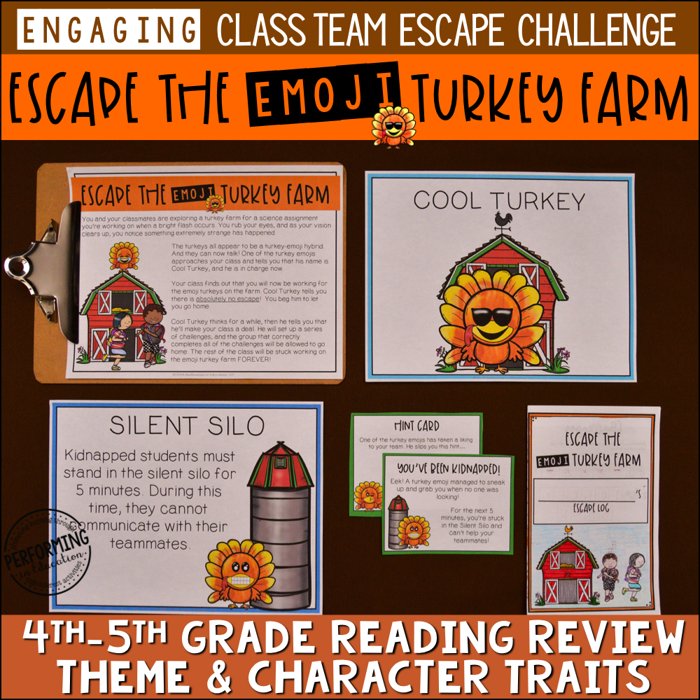4th & 5th Grade Thanksgiving Reading Escape Game