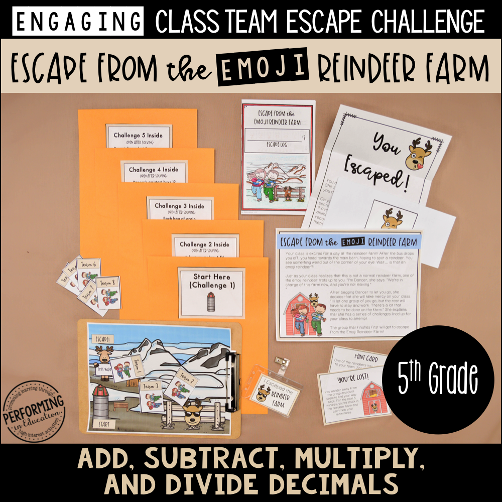 5th Grade Winter Escape Room (Math Review) 00084