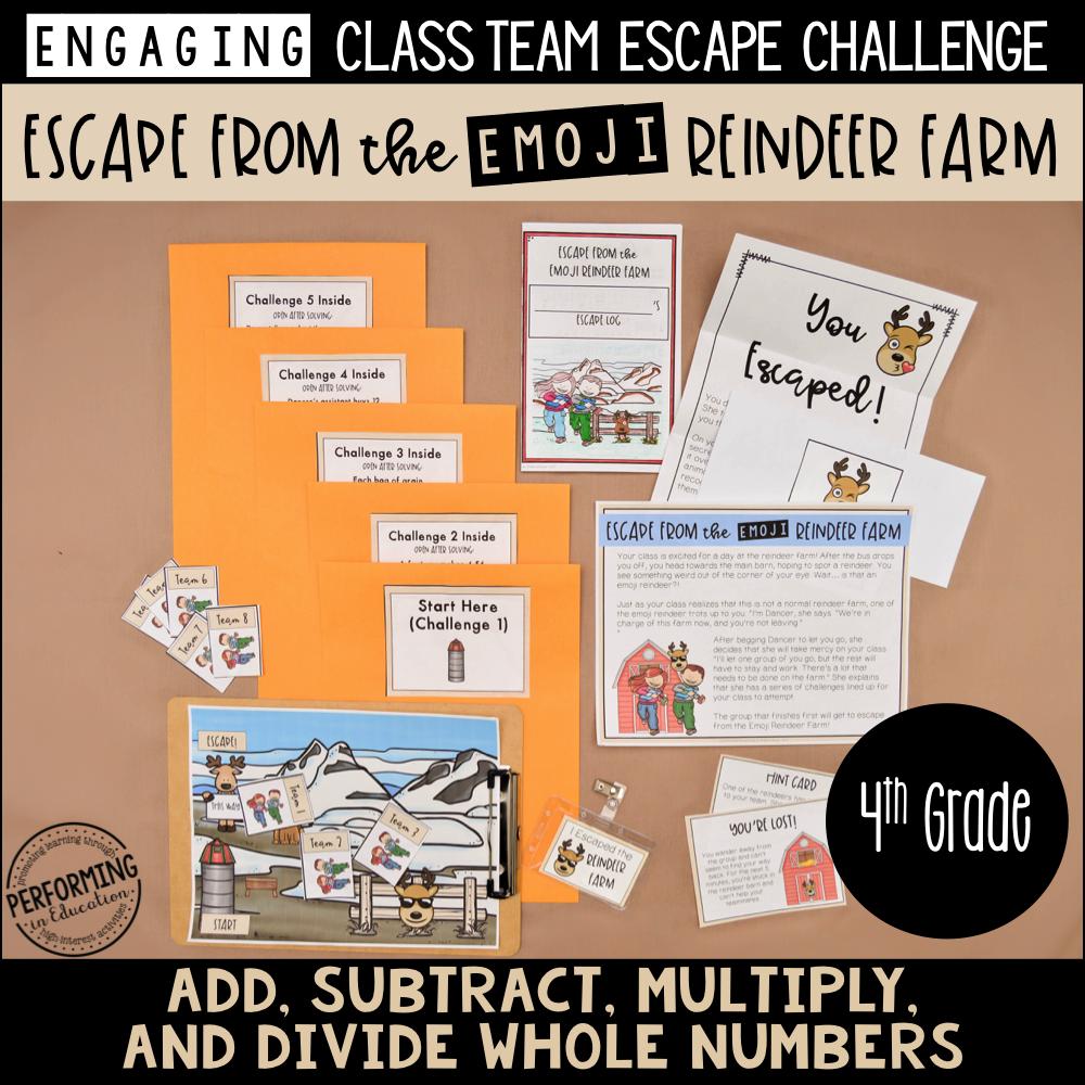 4th Grade Winter Escape Room (Math Review) 00085