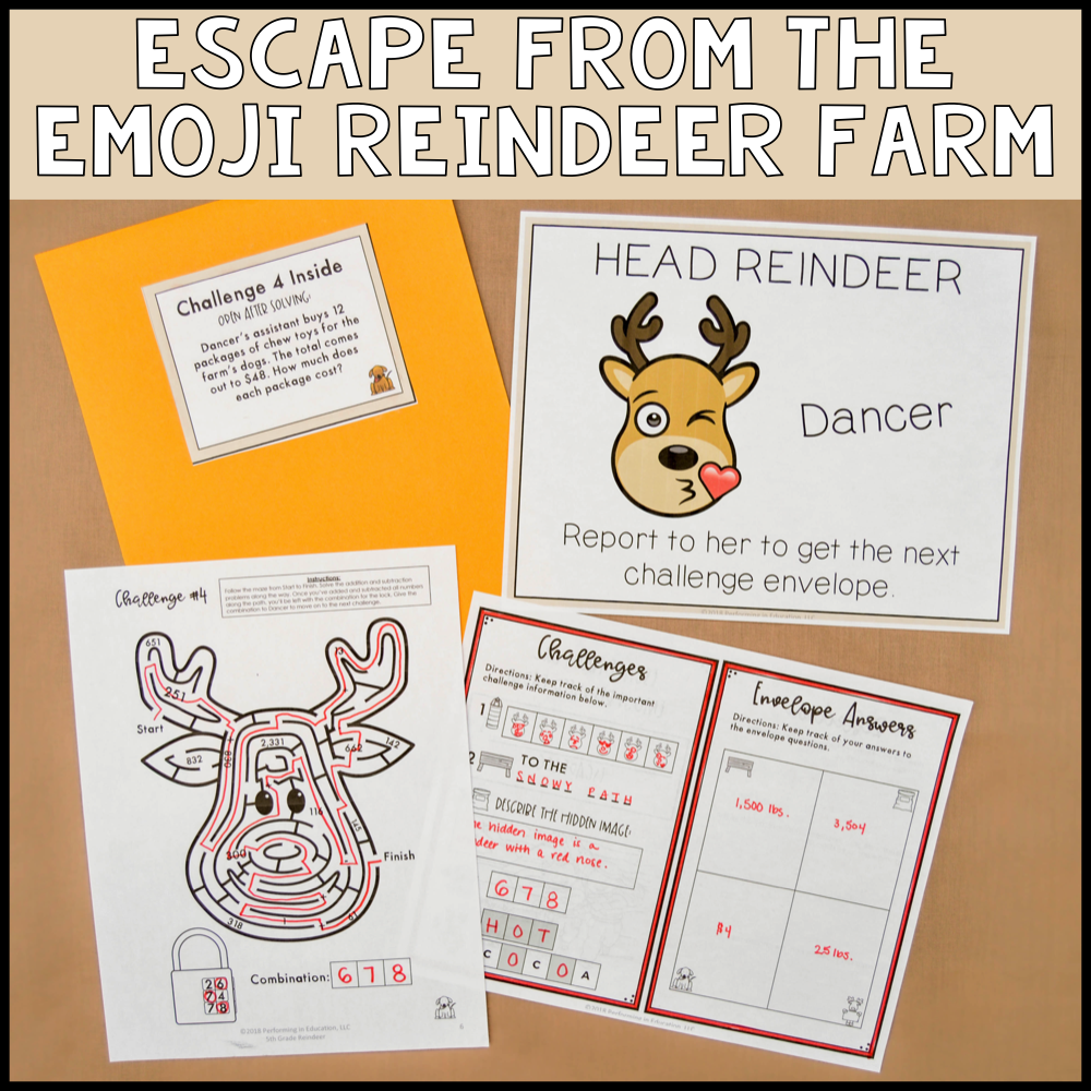 4th Grade Winter Escape Room (Math Review)