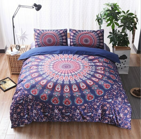 Purple Background Red Pattern Bohemia Duvet Cover Set