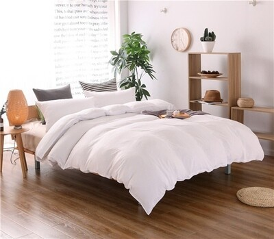 Solid White Washed Cotton Duvet Cover Set